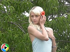Delicious blonde teen peach undressing and spreading legs outdoor in these emotive videos.