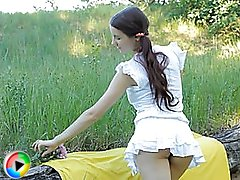 Perfect dark haired teen undressing and demonstrating pussy on the nature on these movs.