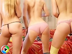 Three adorable teen babes sexually stripping and posing together in the nude on movies.