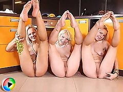 Three absolutely amazing blonde lesbian teens spreading legs in the kitchen on xxx movies.